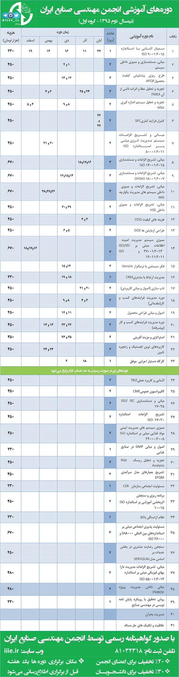 تقویم آموزشی نیمسال دوم- گروه اول